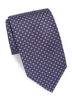 Brioni Geometric Plum Silk Tie