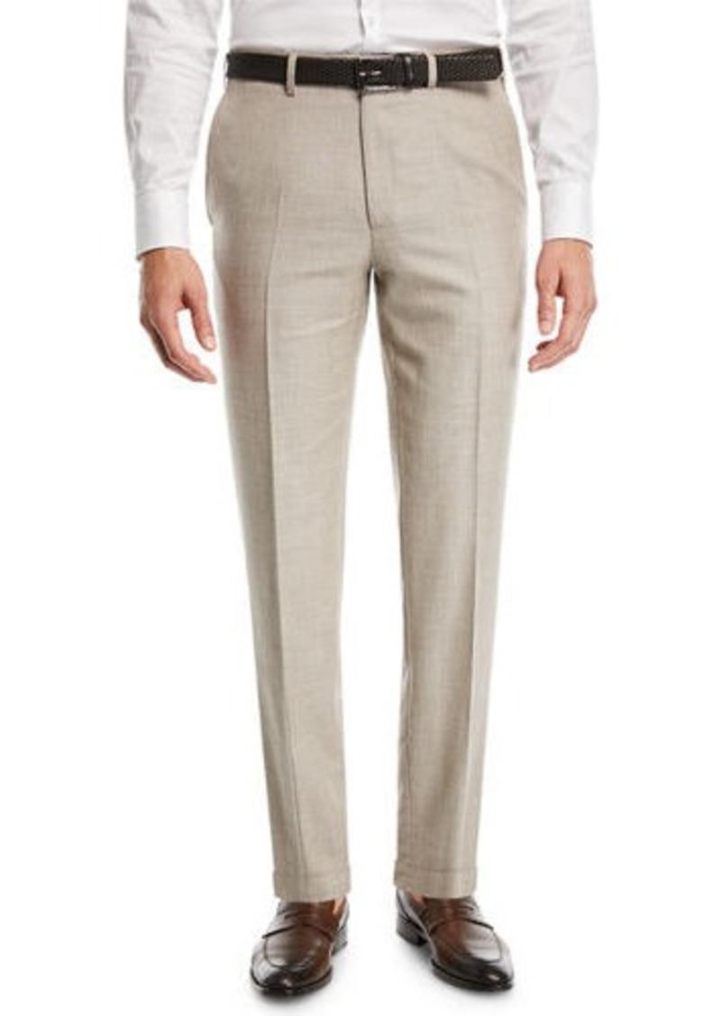 Brioni Heathered Wool/Silk Flat-Front Dress Pants