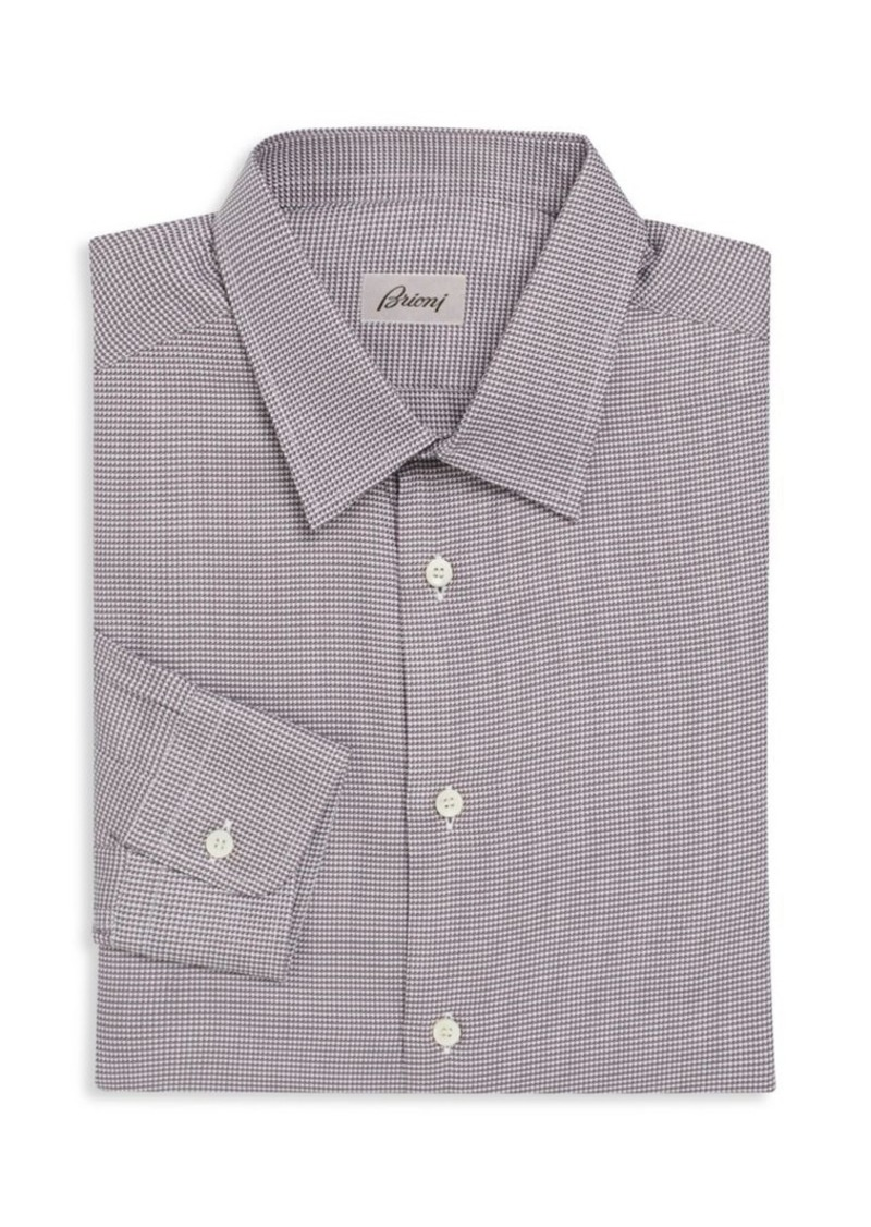 Brioni Houndstooth Patterned Dress Shirt