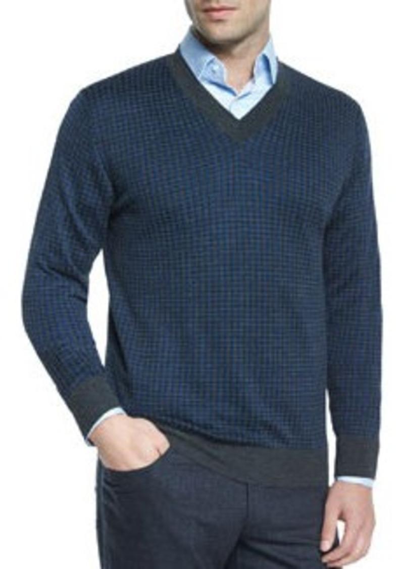 Brioni Houndstooth V-Neck Sweater