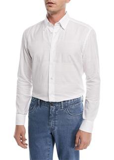 Brioni Jacquard Plaid Long-Sleeve Shirt