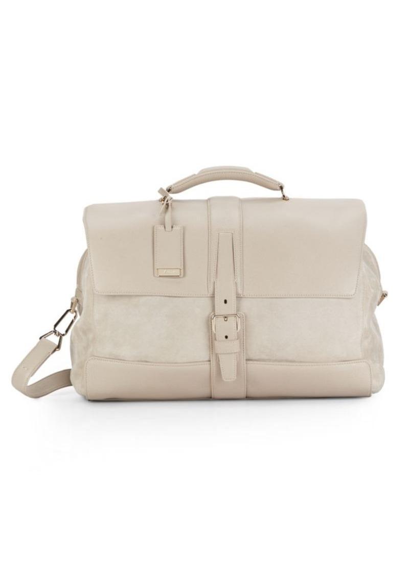 Brioni Leather & Printed Suede Duffel Bag