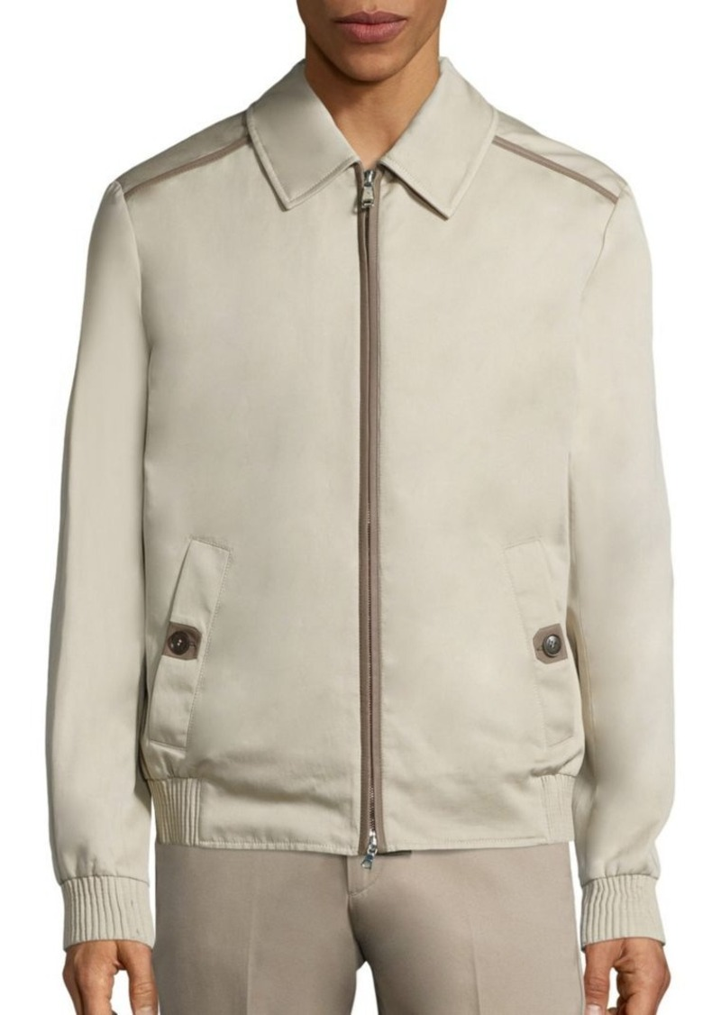 Brioni Leather-Trim Long Sleeve Jacket