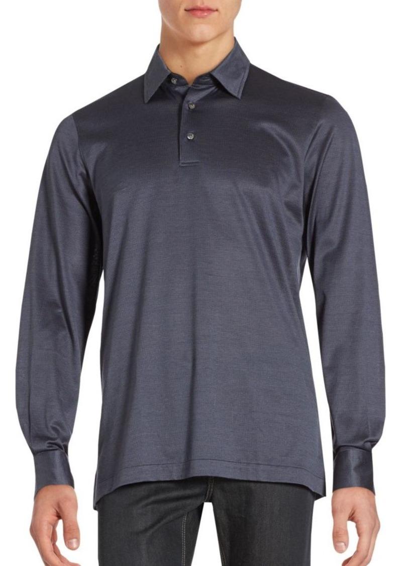 Brioni Long Sleeve Cotton Polo