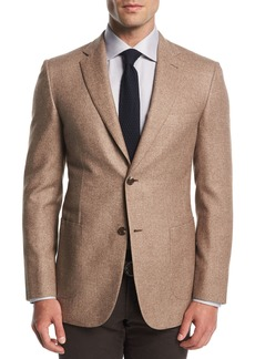 Brioni Melange Silk-Cashmere Two-Button Blazer
