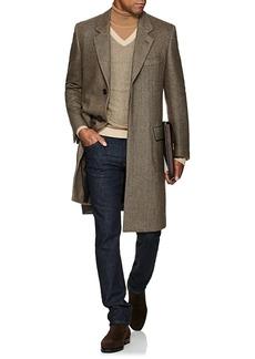 Brioni Men's Cashmere Herringbone Three-Button Overcoat