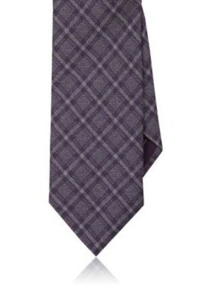 Brioni Men's Checked Silk Necktie-Purple