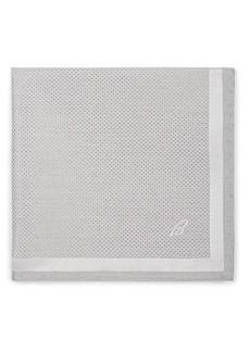 Brioni Men's Crosshatch-Print Silk Pocket Square - Gray