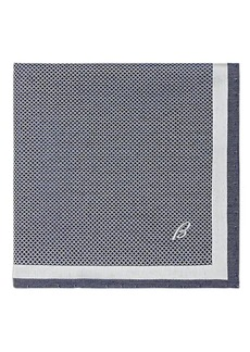 Brioni Men's Crosshatch-Print Silk Pocket Square - Navy