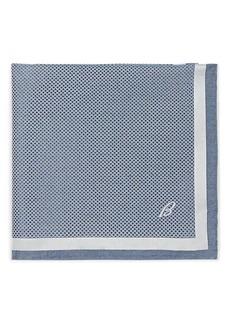 Brioni Men's Crosshatch-Print Silk Pocket Square - Turquoise, Aqua