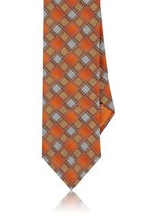 Brioni Men's Diamond-Print Silk Satin Necktie