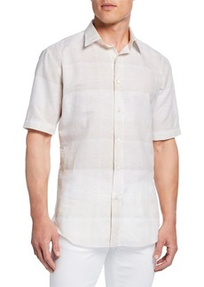 Brioni Men's Exploded Plaid Short-Sleeve Sport Shirt