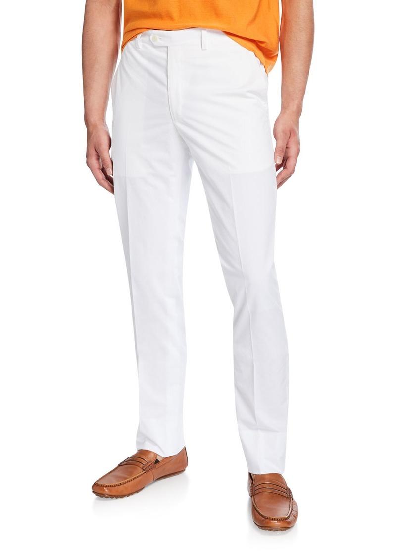 Brioni Men's Flat-Front Cotton Straight-Leg Pants