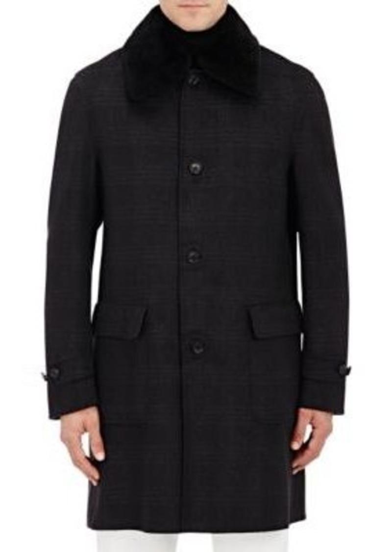 Brioni Men's Fur-Collar Flannel Car Coat-DARK GREY Size M