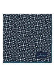 Brioni Men's Geometric-Print Silk Twill Pocket Square - Navy