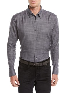 Brioni Men's Heathered Cotton Shirt