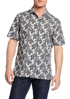 Brioni Men's Leaves-Print Short-Sleeve Sport Shirt
