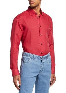 Brioni Men's Linen Dress Shirt