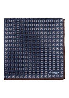 Brioni Men's Medallion-Print Silk Twill Pocket Square - Navy