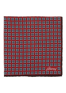 Brioni Men's Medallion-Print Silk Twill Pocket Square - Red