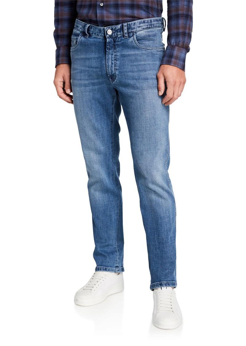 Brioni Men's Medium-Wash Straight-Leg Jeans