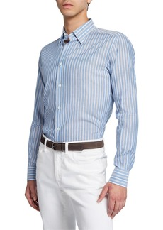 Brioni Men's Multi-Stripe Cotton/Linen Dress Shirt