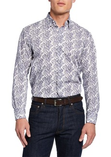 Brioni Men's Paisley-Print Cotton Sport Shirt