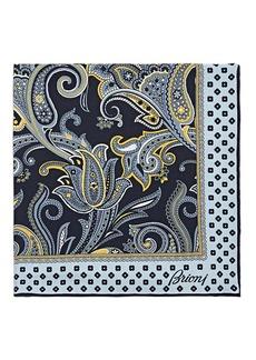 Brioni Men's Paisley Silk Twill Pocket Square - Navy