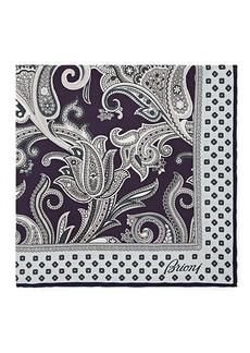 Brioni Men's Paisley Silk Twill Pocket Square - Purple