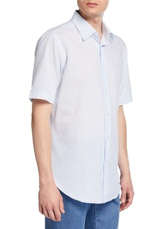Brioni Men's Pinstriped Seersucker Short-Sleeve Sport Shirt