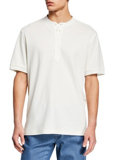 Brioni Men's Pique Short-Sleeve Henley Shirt