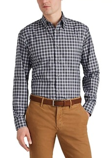 Brioni Men's Plaid Cotton Poplin Shirt