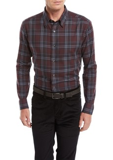 Brioni Men's Plaid Cotton Shirt