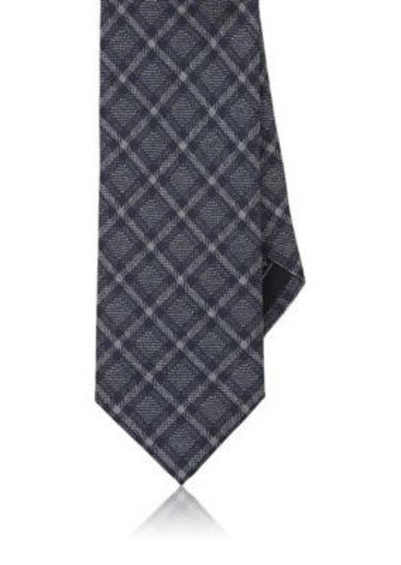 Brioni Men's Plaid Jacquard Silk Necktie-Blue