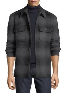 Brioni Men's Plaid Wool-Blend Overshirt