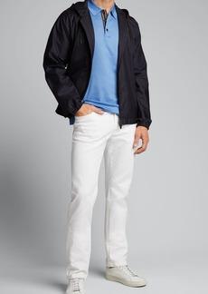 Brioni Men's Solid Cotton Pique Polo Shirt