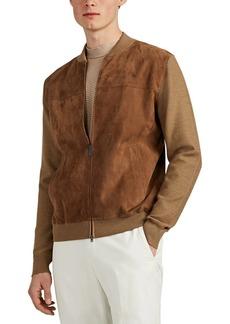 Brioni Men's Suede & Wool Bomber Jacket
