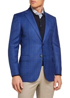 Brioni Men's Tonal Plaid Two-Button Jacket