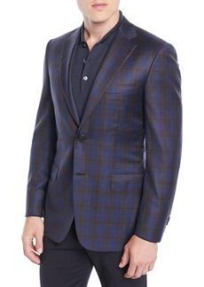 Brioni Men's Two-Tone Plaid Two-Button Jacket  Blue