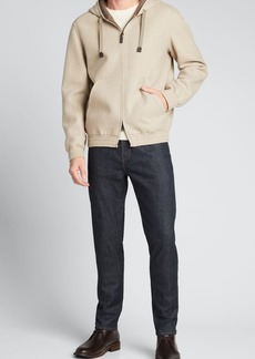 Brioni Men's Wool-Cashmere Hooded Bomber Jacket