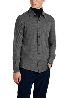 Brioni Men's Wool-Cashmere Piqué Long-Sleeve Polo Shirt