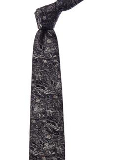 Brioni Navy Architecture Silk Tie