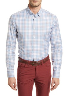 Brioni Plaid Long-Sleeve Shirt  Light Blue