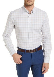 Brioni Plaid Long-Sleeve Shirt  Tan