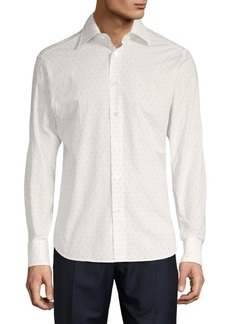 Brioni Printed Cotton Button-Down Shirt