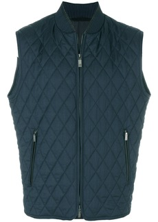 Brioni quilted zip-up gilet - Blue