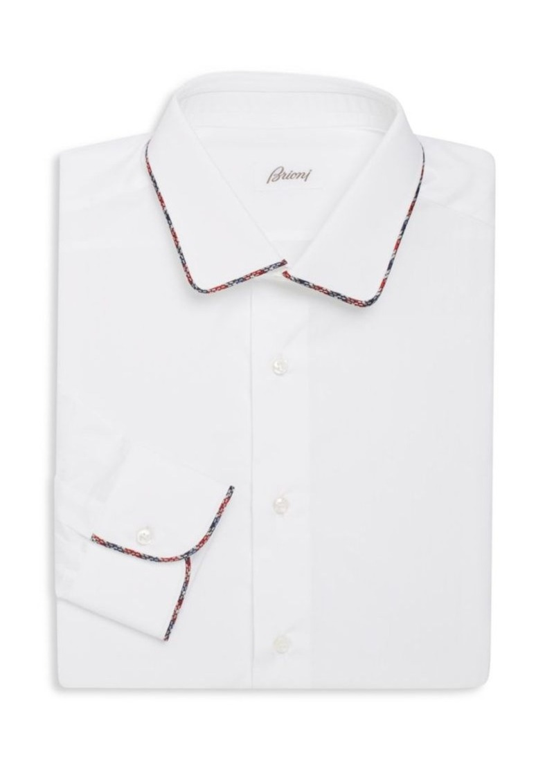Brioni Regular-Fit Contrast-Trim Cotton Dress Shirt