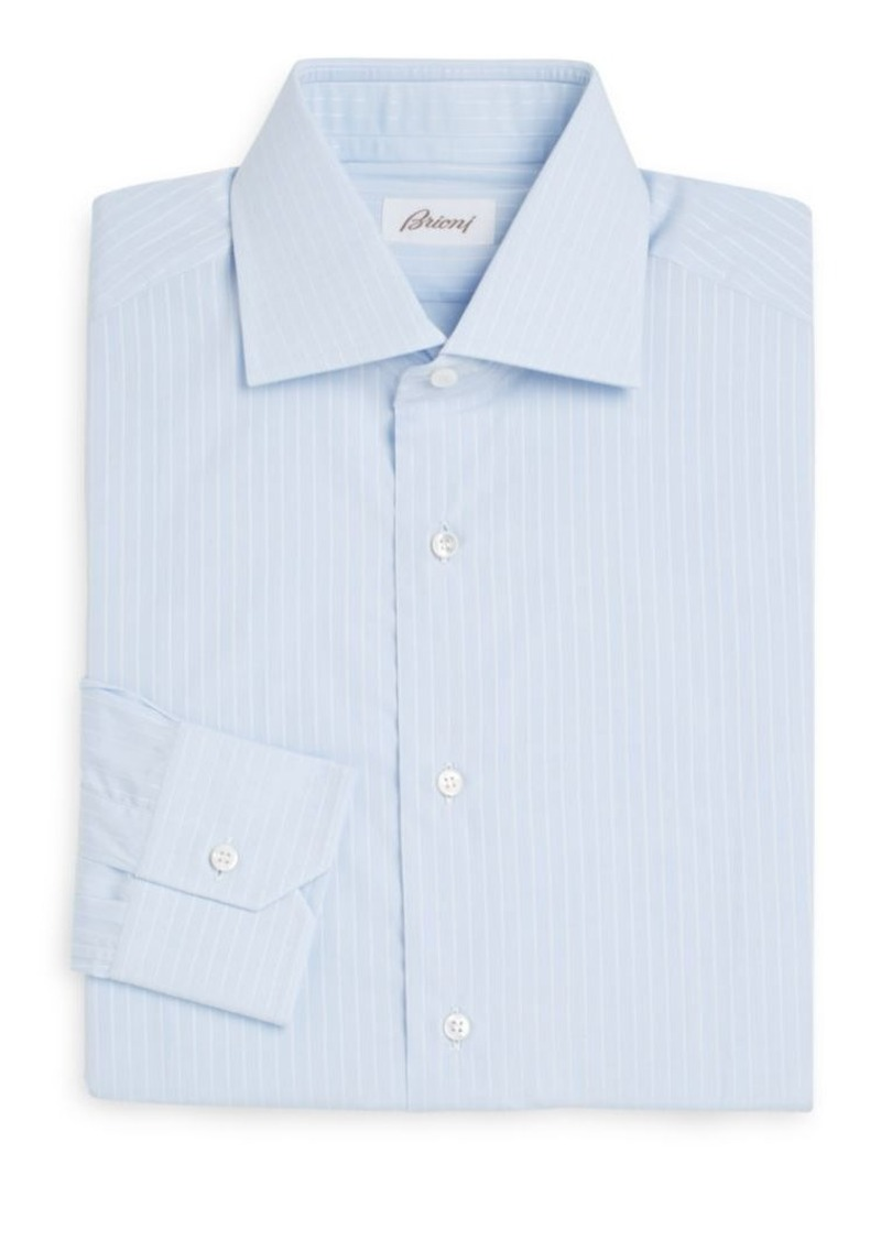 Brioni Regular-Fit Pinstriped Cotton Dress Shirt