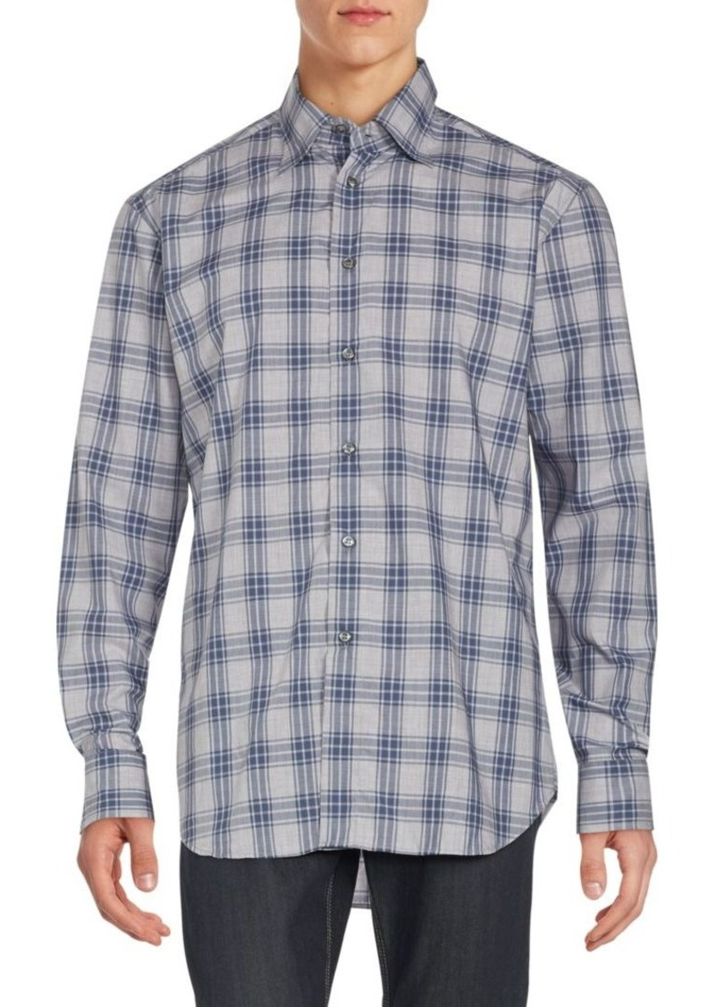 Brioni Regular-Fit Plaid Cotton Sportshirt