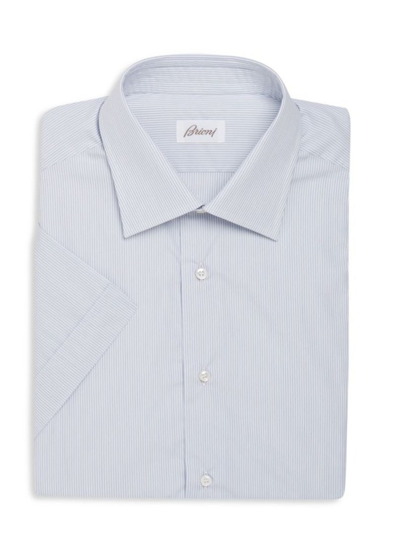 Brioni Regular-Fit Striped Short-Sleeve Dress Shirt
